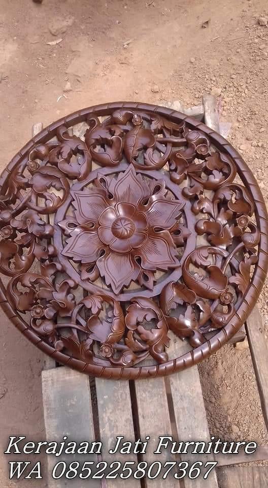 Jual Hiasan Dinding Kayu Jati Ukiran Bunga