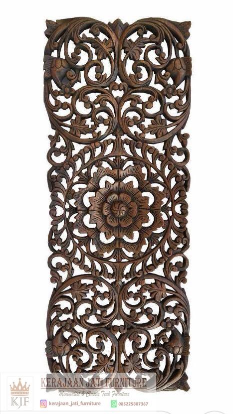Hiasan Dinding Ukiran Bunga Jati