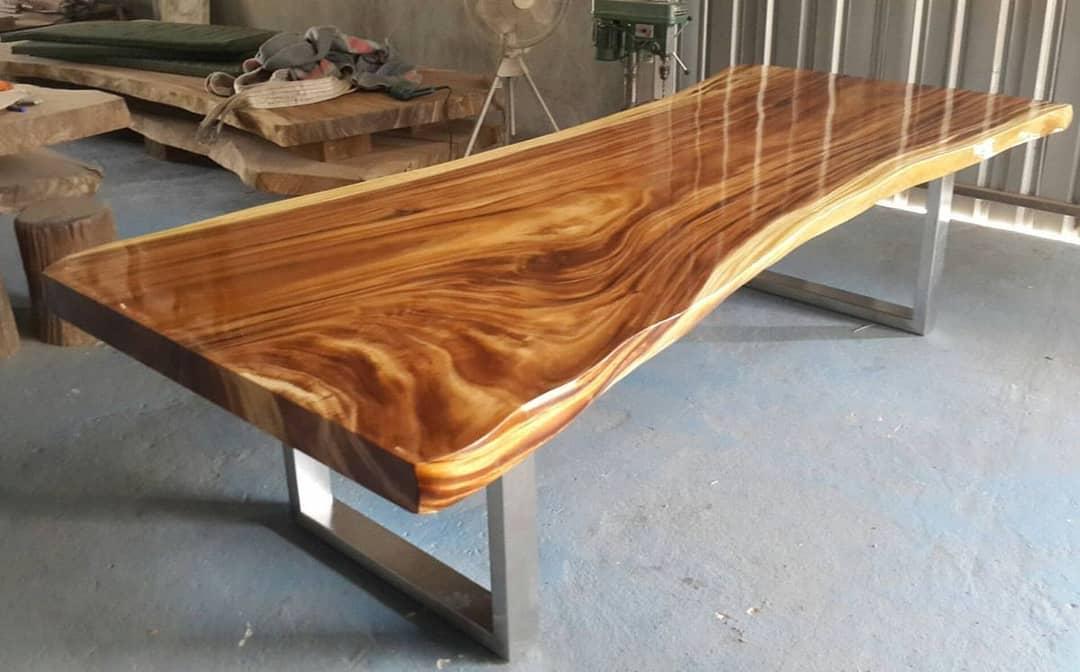 Set meja makan kayu blog solid