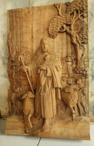 Ukiran Yesus penggembala domba