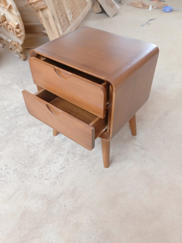 2 drawer wooden nightstand