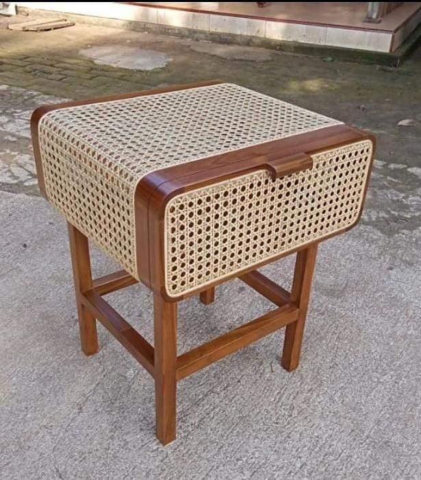 Rattan woven combination nightstand